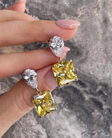 4922- Серьги из серебра с желтыми цирконами огранки принцесса