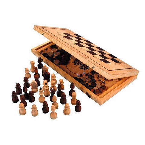 Игра 3 в 1 дерево Россия 29*14,5*3,8см И3в1дР (шахматы, нарды, шашки)