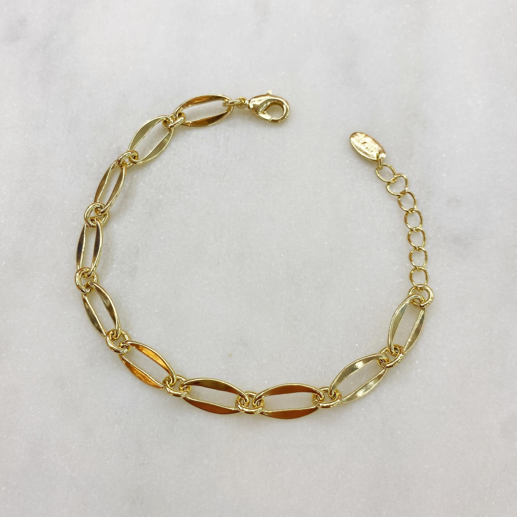 Браслет-цепь из овальных тонких звеньев (золотистый)