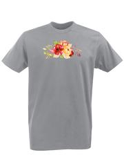Футболка с принтом Цветы (Пионы) серая 002