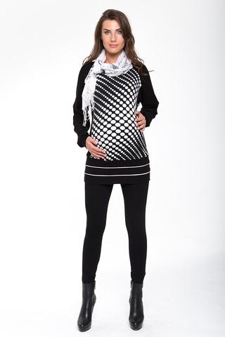 Туника для беременных 07157 черный-белый