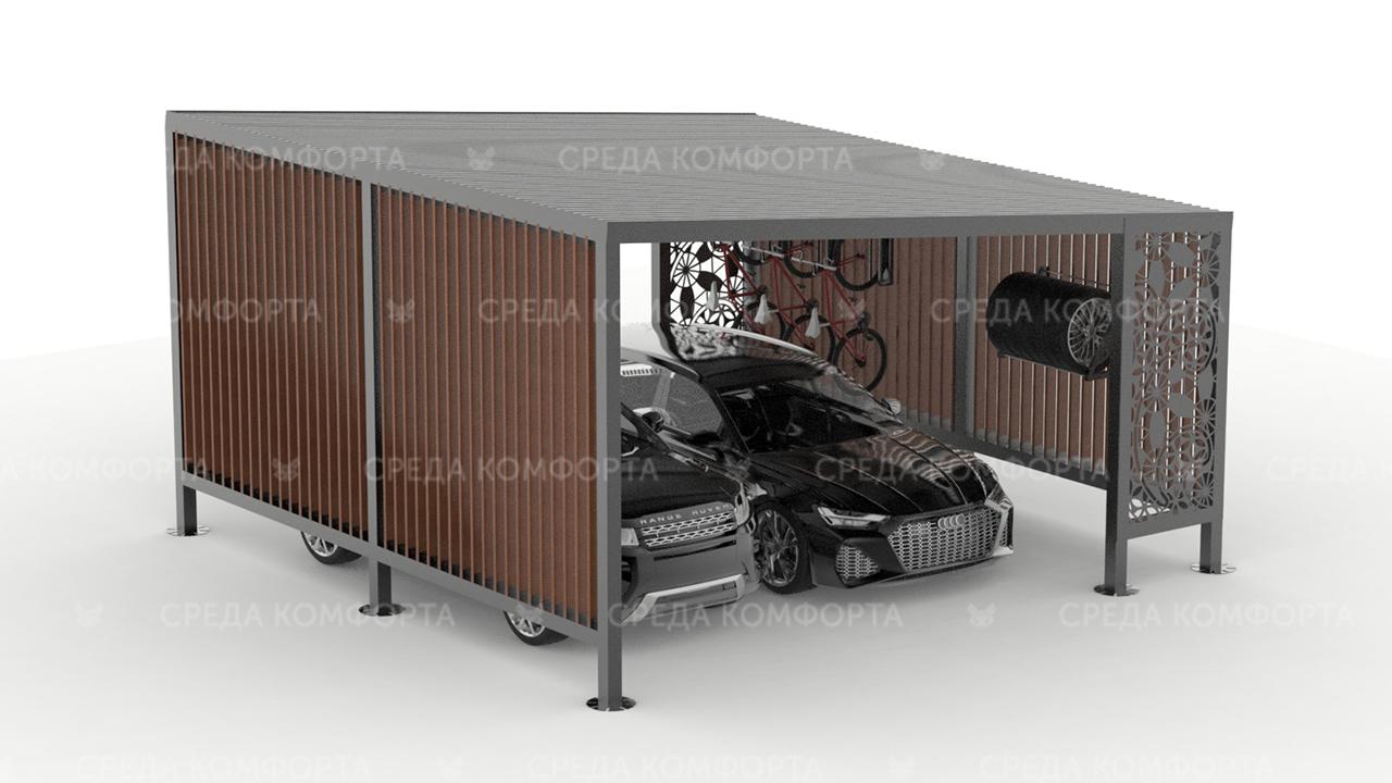 Навес для автомобиля с местом для хранения колес и велосипедов AVNVS0033