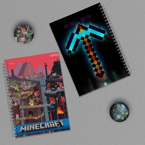 MINECRAFT: набор из 2 тетрадей и 2 значков