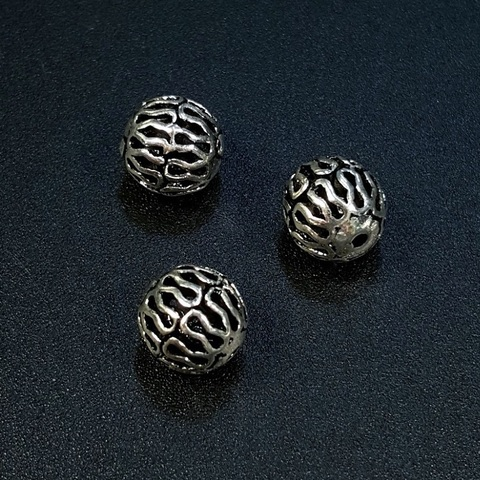 Бусина Кружево 8 мм серебро 925