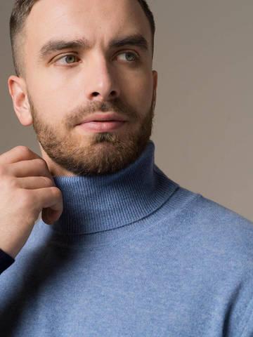 Мужской джемпер с сочетанием денимного и синего цветов из 100% кашемира - фото 4