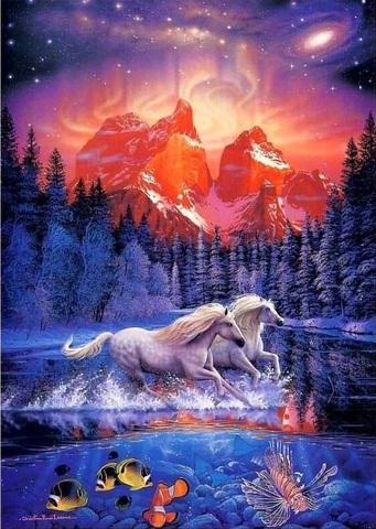 Картина раскраска по номерам 40x50 Белые лошади под красным небом  (арт. Y5085)