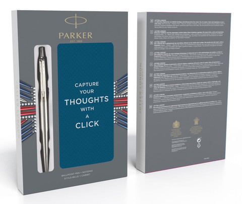 Набор подарочный Parker Jotter Core - Stainless Steel CT, шариковая ручка + блокнот