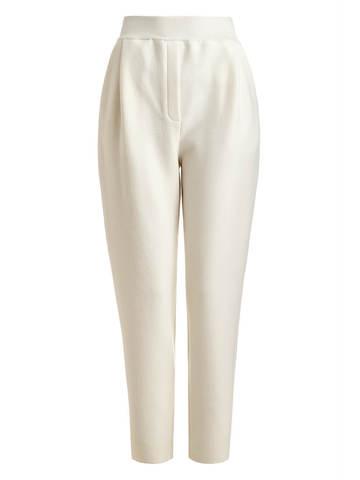 Женские брюки молочного цвета из 100% шерсти - фото 1