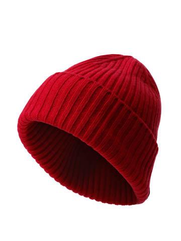 Женская шапка красного цвета из шерсти и кашемира - фото 1