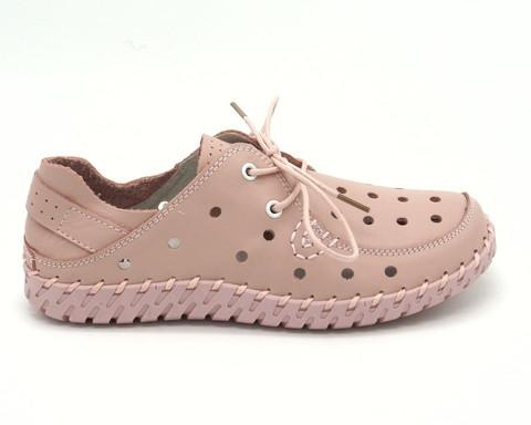 Полуботинки розовые из перфорированной кожи на шнуровке