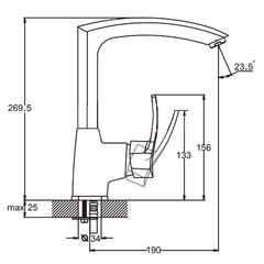 Фото размеры смесителя для кухни Zegor BBS4 (TBS-A279)