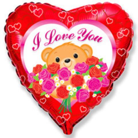 F Сердце Мишка с розами, 18
