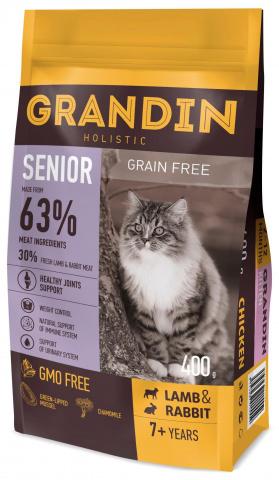 GRANDIN Senior корм для кошек в возрасте старше 7 лет, с ягненком и кроликом 1,5 кг.