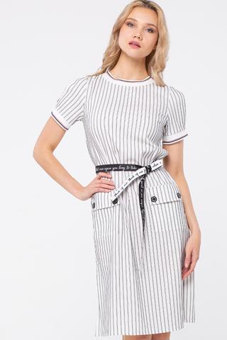 Фото белое летнее платье до колена в полоску с накладными карманами - Платье З449а-315 (1)