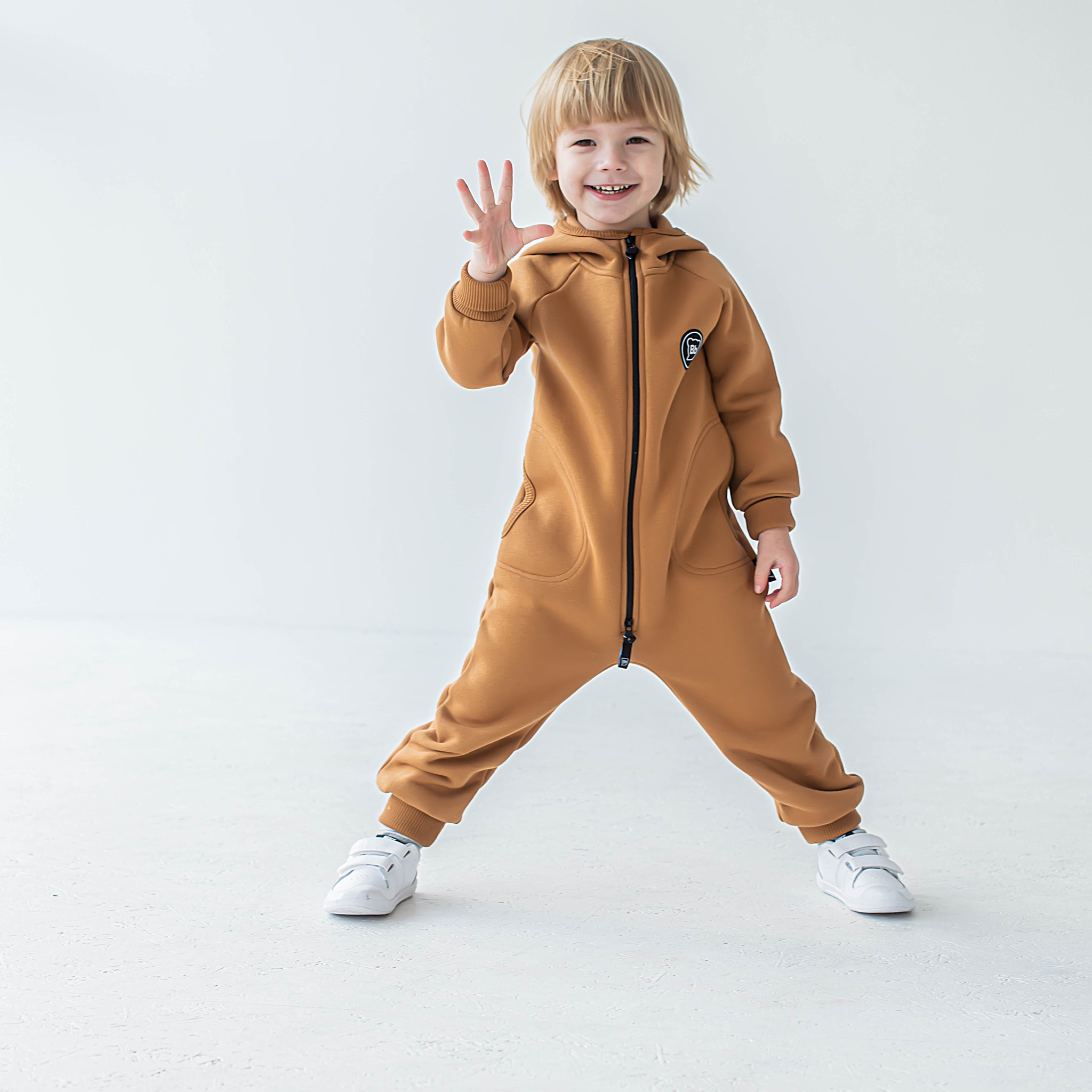Warm hooded jumpsuit with side pockets - Nut