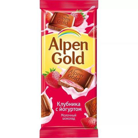 """Шоколад """"Alpen Gold"""" клубника с йогуртом 85г"""