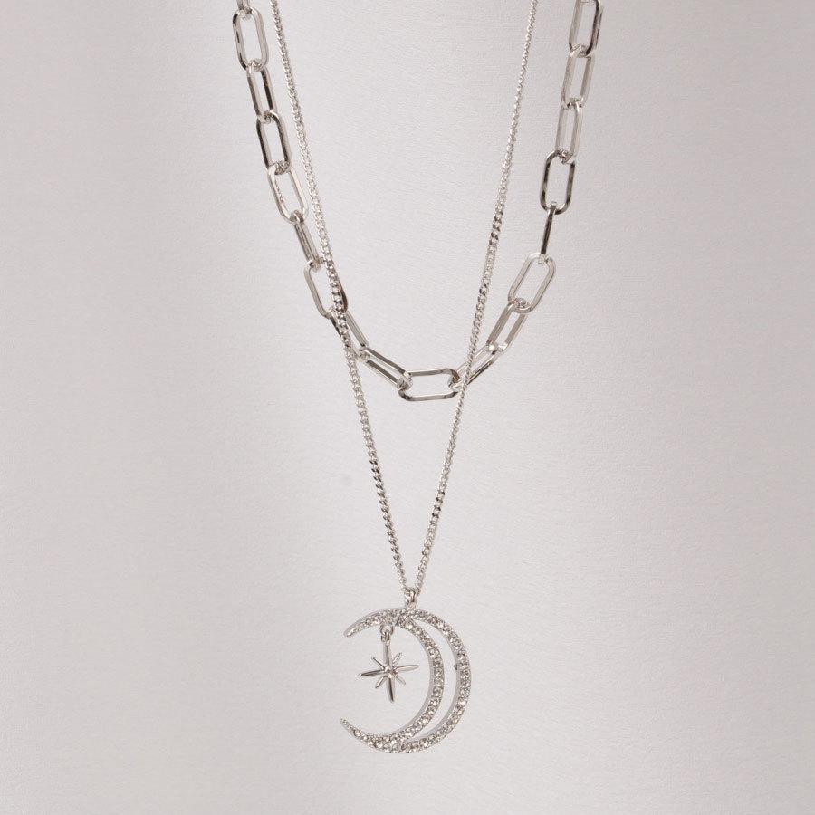 Двухслойное украшение из цепей с подвеской Месяц, Swarovski (серебристый)