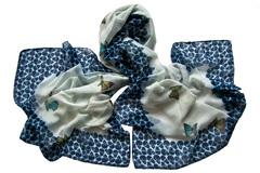 Парео бело-синее с принтом 0181
