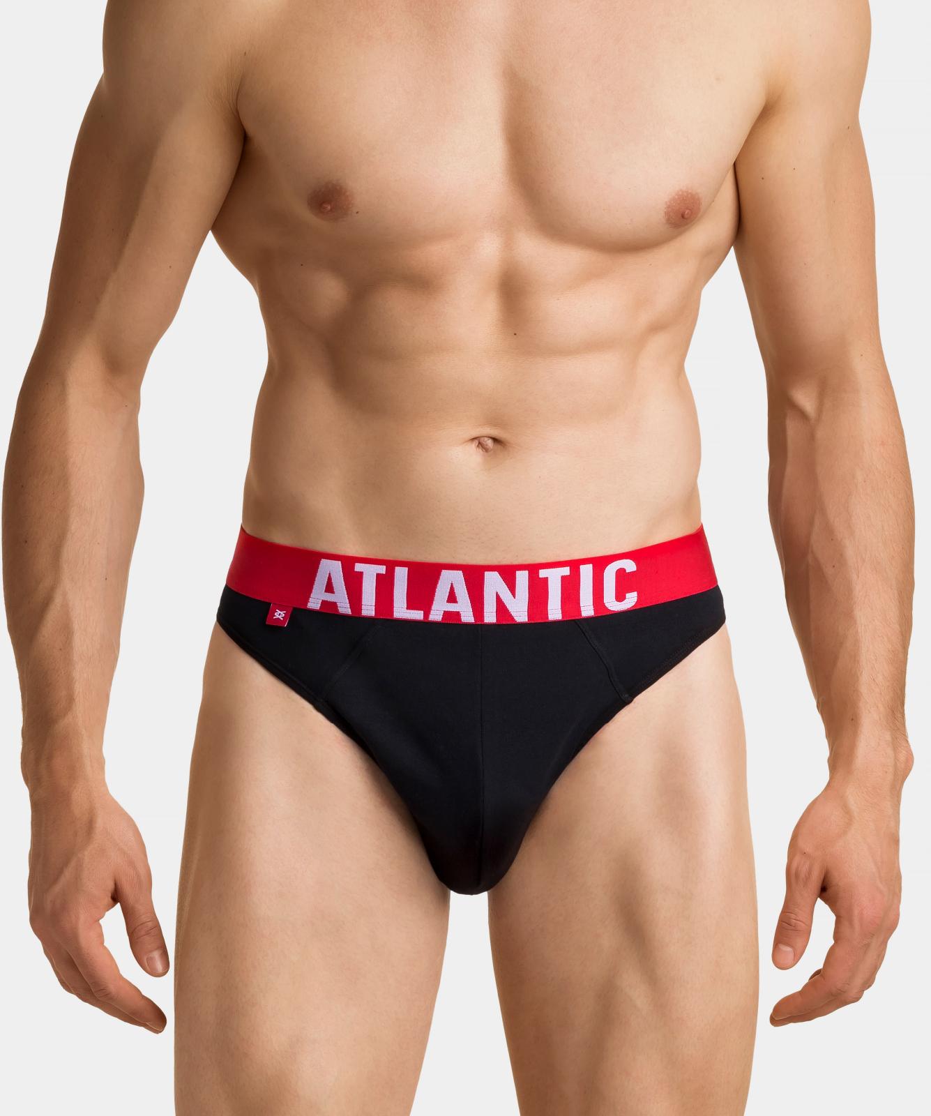 Мужские трусы слипы спорт Atlantic, набор 3 шт., хлопок, черные, 3SMP-003