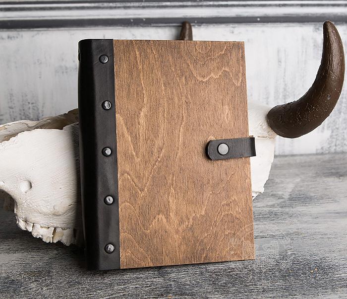 BC126-2 Деревянный блокнот ручной работы со сменными листами