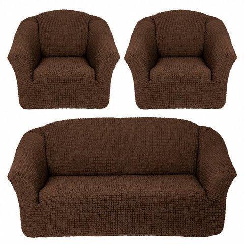 Комплект чехлов для дивана и двух кресел шоколад без оборки.