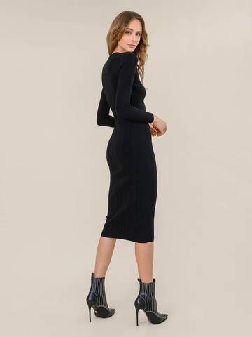 Женское платье черного цвета из шерсти - фото 4