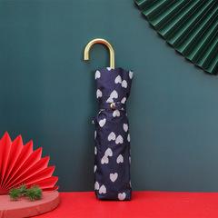 Суперлегкий зонт, ручка крюк, женский, с защитой от УФ, механика, 6 спиц (синий, сердечки)