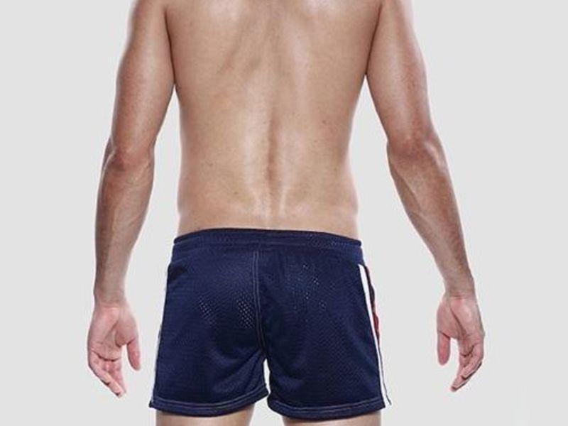 Мужские шорты темно-синие в сетку Seobean Red Sport Shorts Navy 40506