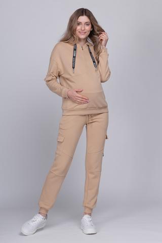 Спортивный костюм для беременных и кормящих 12526 бежевый