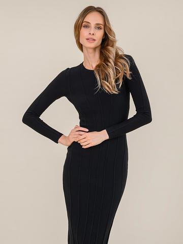 Женское платье черного цвета из шерсти - фото 3