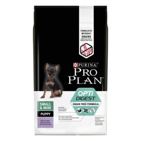Pro Plan Grain Free Puppy Small & Mini беззерновой сухой корм для щенков малых пород с чувствительным пищеварением с индейкой