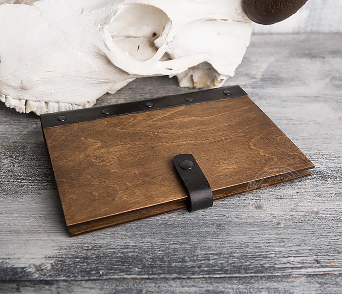 BC126-2 Деревянный блокнот ручной работы со сменными листами фото 03