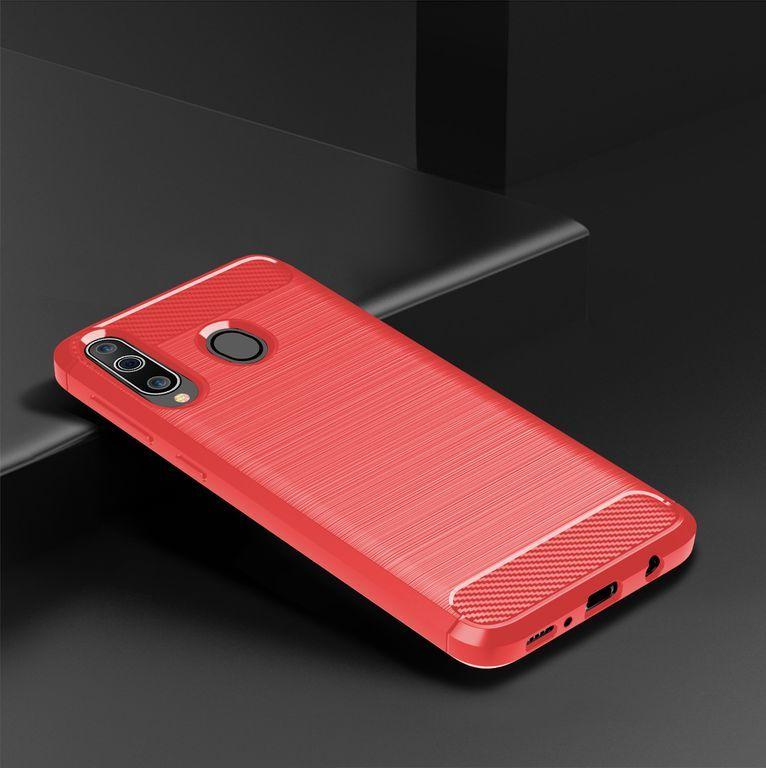 Чехол для Samsung Galaxy A40S (Galaxy M30) цвет Red (красный), серия Carbon от Caseport