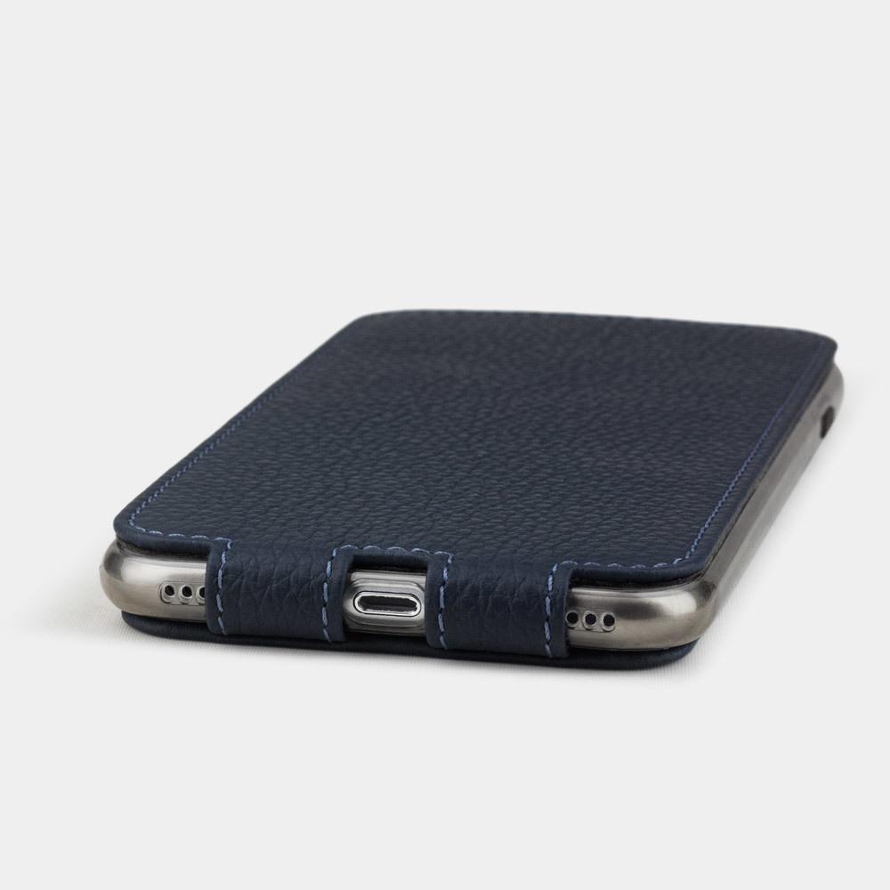 Чехол для iPhone SE/8 из натуральной кожи теленка, цвета синий мат