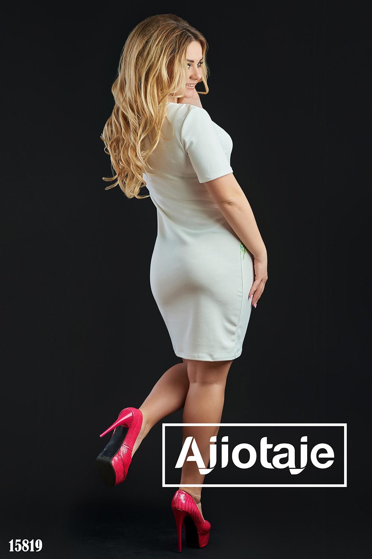 Платье миди с коротким рукавом белого цвета