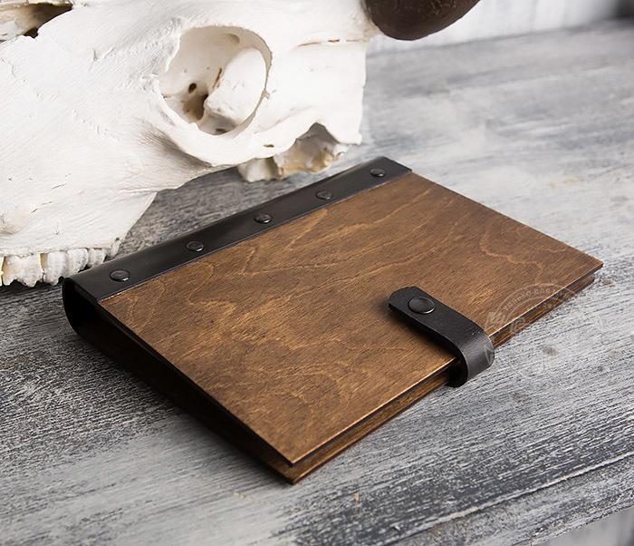 BC126-2 Деревянный блокнот ручной работы со сменными листами фото 04
