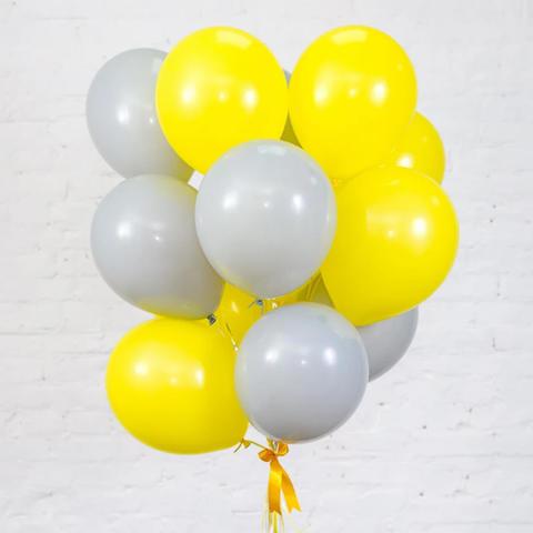 25 шаров 36 см серый и жёлтый