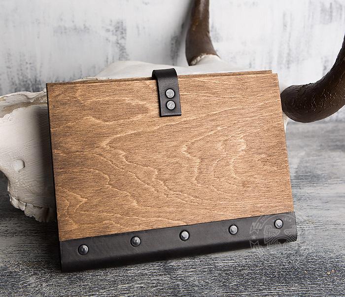 BC126-2 Деревянный блокнот ручной работы со сменными листами фото 05
