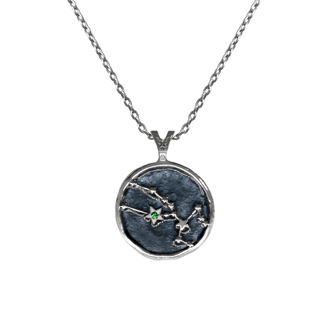 Pendant, Zodiac sign Taurus on a chain, sterling  silver