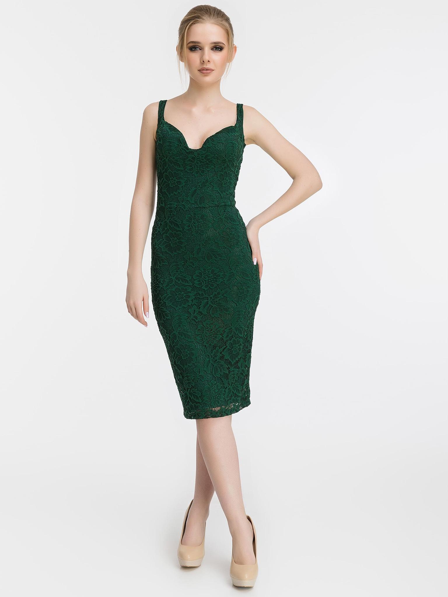 Кружевное платье-футляр на бретелях, изумрудного цвета