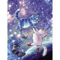 Картина по номерам Коты в космосе