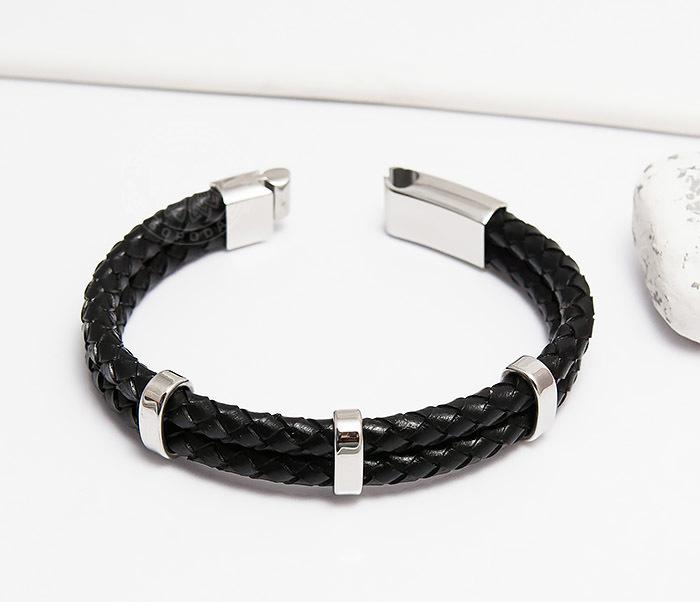 BM461 Стильный мужской браслет из кожаных шнуров со сталью (20 см) фото 04