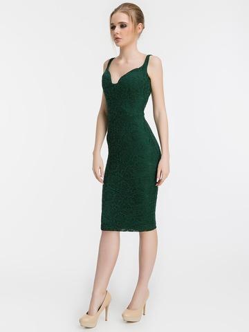 Кружевное платье-футляр на бретелях, изумрудного цвета 1