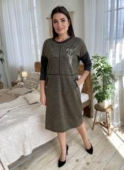 Ярослава. Зручне стильне плаття плюс сайз. Хакі