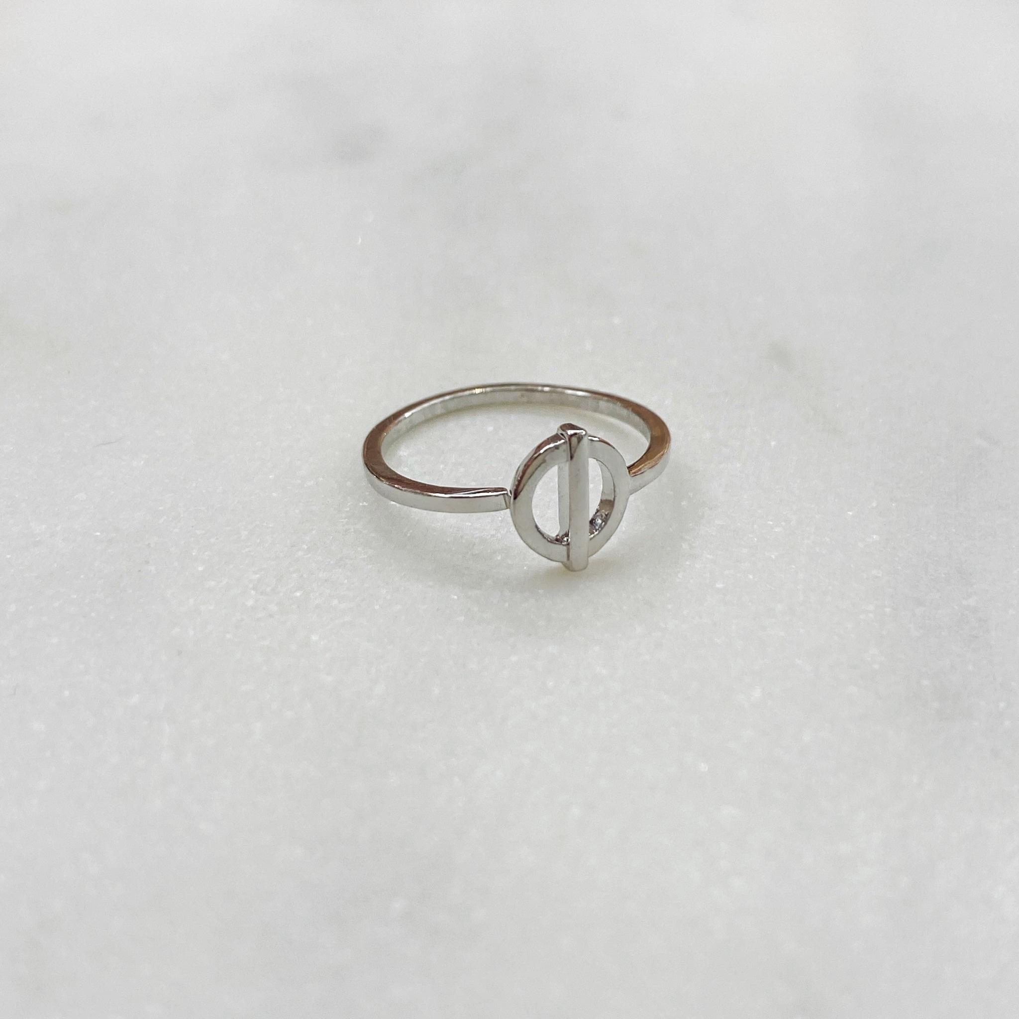 Кольцо на фалангу с круглым центром (серебристый)