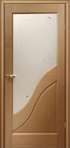 Дверь Глория ПО (светлый дуб, остекленная шпонированная), фабрика LiGa