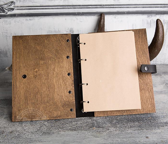 BC126-2 Деревянный блокнот ручной работы со сменными листами фото 06