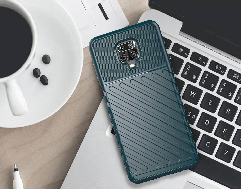 Чехол зеленого цвета на Xiaomi Redmi Note 9s и 9 Pro, серии Onyx от Caseport