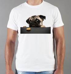 Футболка с принтом собаки (Собачки, Мопс) белая 0042