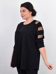 Лаура. Женская кофта больших размеров с люрексом. Черный.
